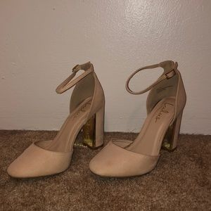 """Lulus 4"""" blush pumps with a gold tone heel"""